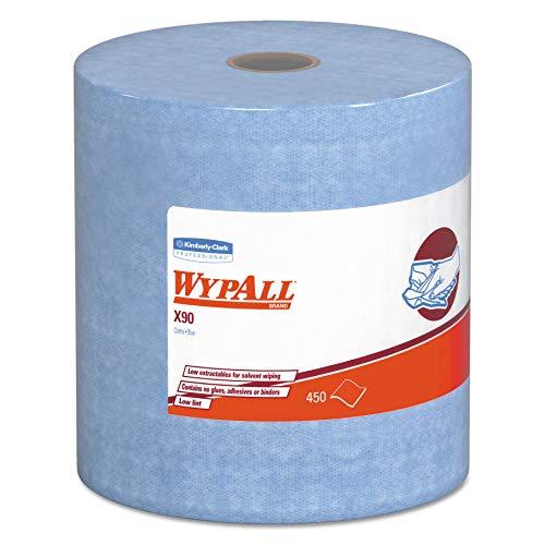 WypAll 12889 X90 Cloths, Jumbo Roll, 11 1/10 x 13 2/5, Denim Blue, 450/Roll, 1 - Cloth Jumbo Towels Roll