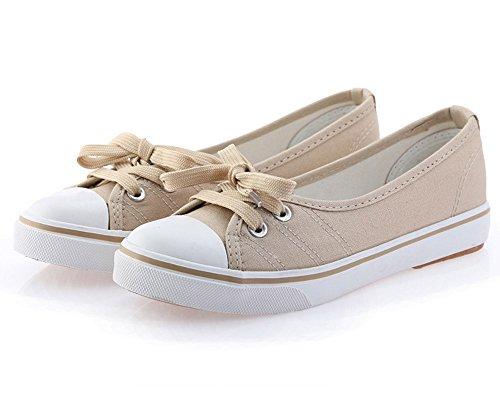 Chicas Punta Minetom Zapatos Lona Mujer Tac Redonda Moda 57746Xnwv
