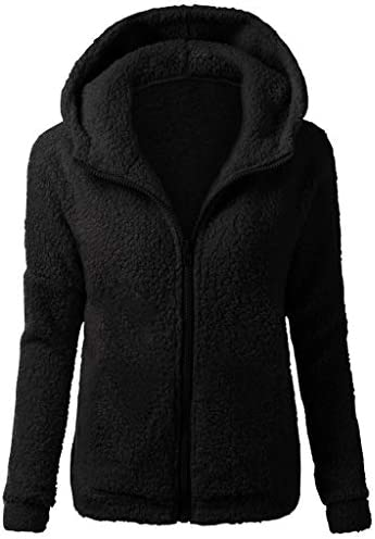 Forwelly Women`s Winter Plus Size Overcoat Thick Plush Zipper Hooded Coat Ladies Outdoor Warm Crop Jacket