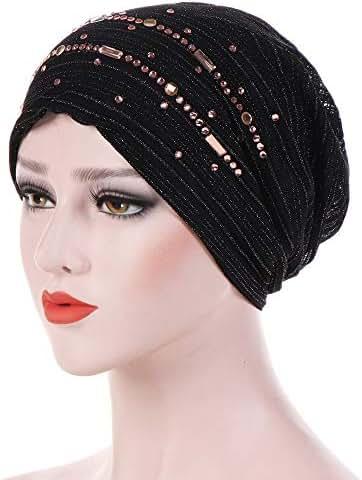 Dressin_Hat Women Lace Muslim Ruffle Chemo Hat Beanie Scarf Turban Head Wrap Caps Hat