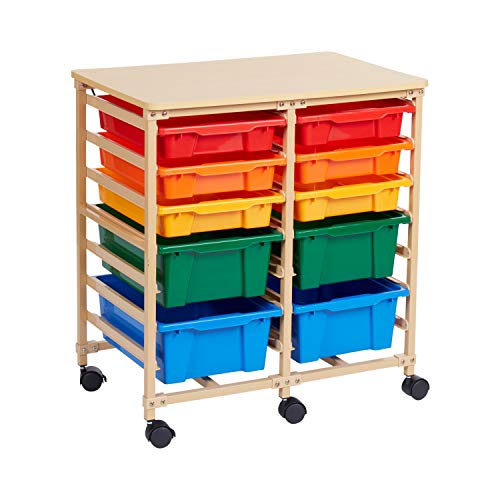 ECR4Kids 10-Tray Mobile Storage Organizer, Sand with Assorted Colors