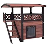 Outdoor Wooden Cat House - A Versatile Cats Cave Den Made From Wood. Ideal for Outside, With a Weatherproof Roof & Slats on the Door to Protect Against The Heat And The Cold