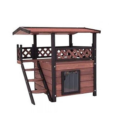 Casa de gato de madera para exteriores – Versátil, fabricada en maderaIdeal para uso exterior, con un tejado resistente a la intemperie y lamas en la ...