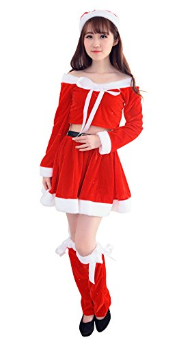 DH-MS Dress Christmas Sexy Cute Girls Nightclubs Role - playing Stage Performance Costume(Red) (70s Cop Costume)