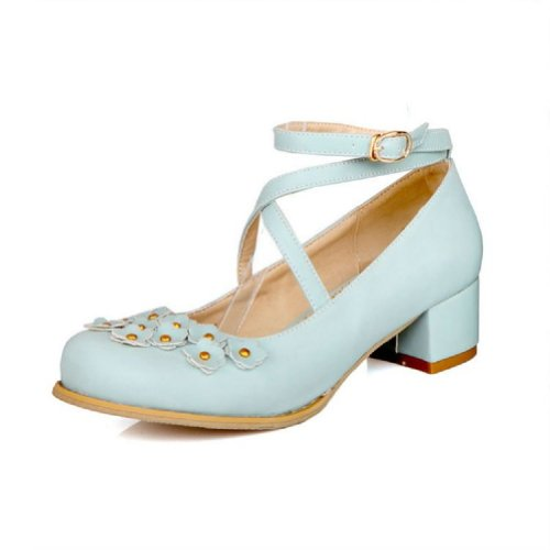 Bretelles Mode Pied De Mode Femmes Chaussures À Talons Hauts Chaussures Bleu
