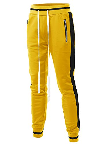 - Style by William Side Panel Long Length Drawstring Track Pants Yellow Black L