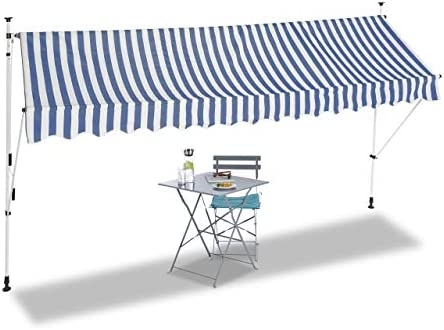 No Drilling Width 400 cm Clamp Awning Retractable /& Adjustable Beige Telescopic Canopy relaxdays 400 x 120 cm Balcony Sunshade