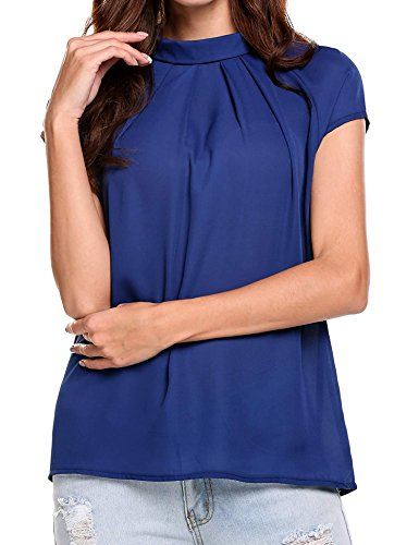 Soteer Women's Pleated Chiffon Layered Blouses Front Pleat Cool Short Sleeve Tank Tunic