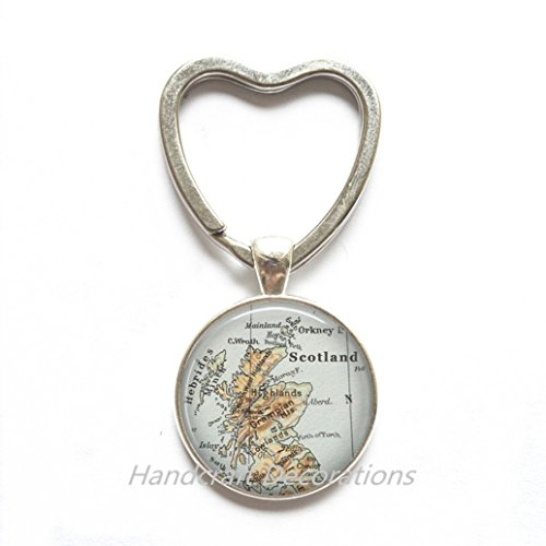 Charming Heart Keychain Scotland map Key Ring, Scotland map Heart Keychain, Scotland Key Ring, map jewelry, map - Edinburgh Designer Glasses