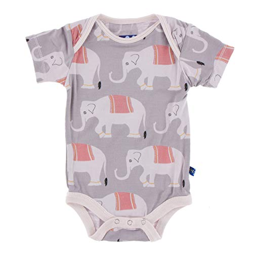 (Kickee Pants Little Girls Print Short Sleeve One Piece - Feather Indian Elephant, 3-6 Months)