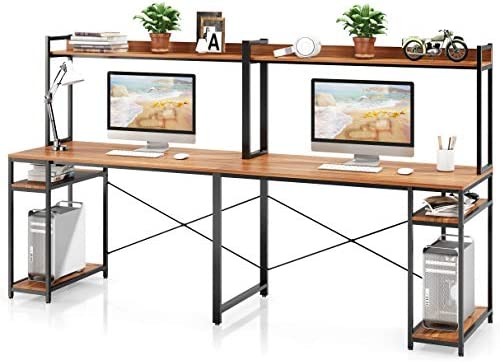 VIPEK Computer Desk with Storage Shelves Open Display Shelf Gaming Desk Writing Study Table 94.5 Inches Extra Long Desk Large Double Workstation Home Office Desk for Two Person Suntalam Walnut