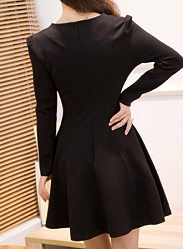 Sexy Long Solid Cocktail Draped Neck Dress Coolred V Sleeved Black Women qRFP0