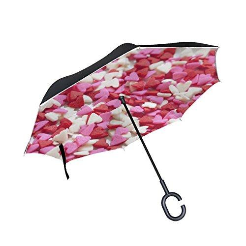 Hearts Reversible Pink (Rh Studio Inverted Umbrella Heart Set Red White Pink Large Double Layer Outdoor Rain Sun Car Reversible Umbrella)