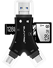 SD Card Reader for iPhone / ipad / Android / Mac / Computer / Camera,4 in1 Micro SD Card Reader Trail Camera Viewer, Portable Memory Card Reader SD Card Adapter Compatible with SD and TF Cards(Black)