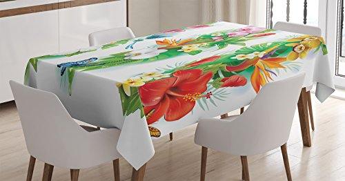 (Ambesonne Watercolor Flower House Decor Tablecloth, Tropical Christmas Bouquet Tropic Hibiscus Bloom Leaf Butterfly, Dining Room Kitchen Rectangular Table Cover, 60 W X 84 L Inches, Green White)