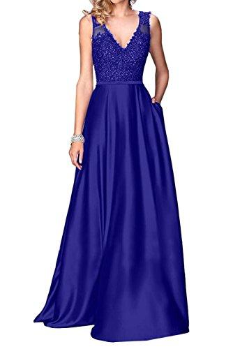 Promkleid Partykleid Damen Ivydressing Lang A Royalblau Spitze V Ausschnitt Festkleid Abendkleider Linie OC8pZwq1
