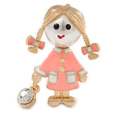 (Avalaya Funky Neon Pink Enamel, Pearl Bead Doll Brooch/Pendant with Crystal Purse in Gold Tone Metal - 40mm L)