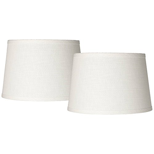 White Drum Lamp Shades Set of 2 Modern Hardback 10x12x8 (Spider) - Brentwood