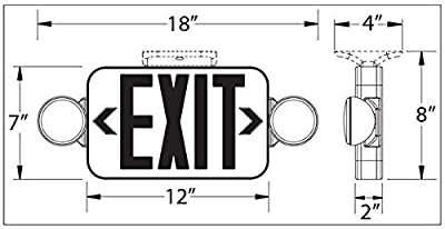 Black LED Exit Sign Emergency Light Combo with Green Letters