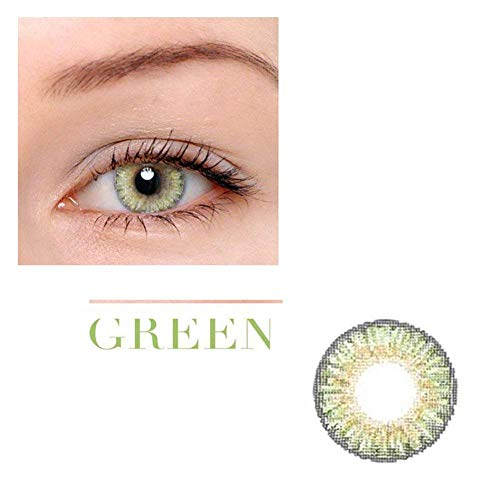 SAFE Women Multicolor Cute Charm and Attractive Fashion Colored Contact Lenses Cosmetic Makeup Eye Shadow Green Contact Lenses Halloween Makeup Cosplay Party- With 1 Contact Lenses Case -