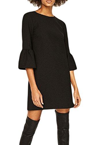 Frauen Elegant Einfache 3 / 4 - Ärmel Schicht Mini - Kleid Black
