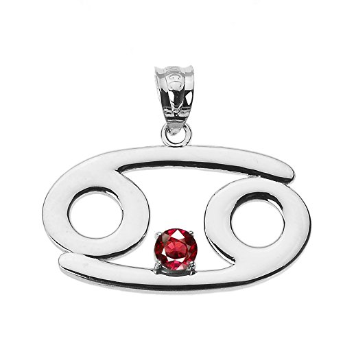 Personalized 10k White Gold Genuine Ruby July Birthstone Cancer Zodiac Charm Pendant