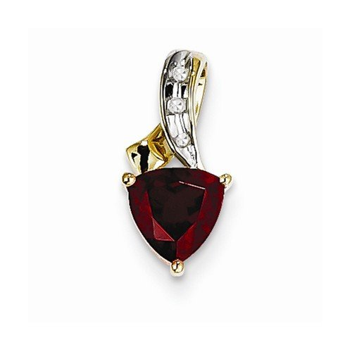 Pendant 15mm Trillion (Solid 14k Yellow Gold Diamond and Simulated Garnet Trillion Pendant (.01 cttw.) (15mm x 7mm))