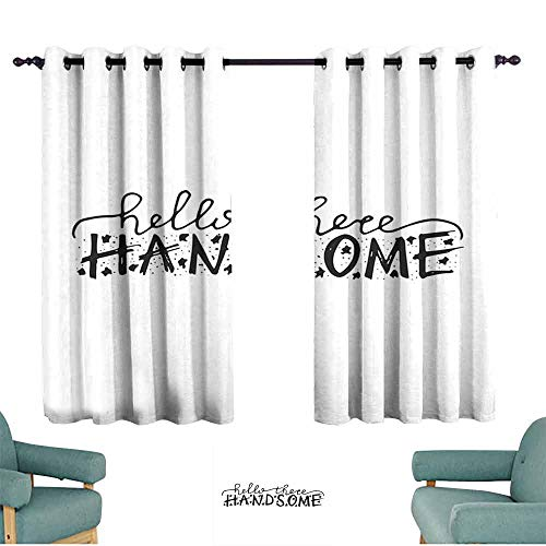 HCCJLCKS Simple Curtain Hello Hello There Handsome Typographic Text with Doodle Stars for Baby Boys Kids Birthday Set of Two Panels W63 xL45 Black White