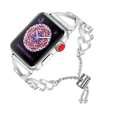 RUOQINI Compatible with Apple Watch Band,Jewelry Bangle Cuff Women Girls Adjustable Stainless Steel Bracelet for IwatchBands of Series 4/3/2/1,42mm 44mm SZ-C ()