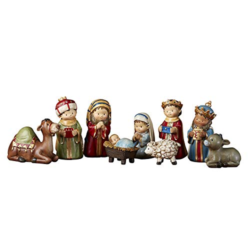 CB Children's Play Christmas 9 Piece Indoor Complete Nativity Set with 4