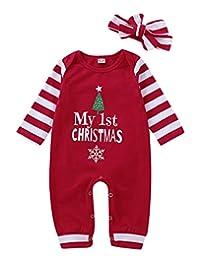 MAINESAKA Baby Girls My 1st Christmas Romper Bodysuit Stripes Headband Outfits