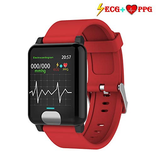 iSwim Fitness Tracker HR, Color Screen ECG PPG Smart Watch,IP67 Waterproof, Activity Tracker with Heart Rate Blood Pressure Calories Pedometer Sleep Monitor Call/SMS Remind for Smartphones Gift (Red) ()