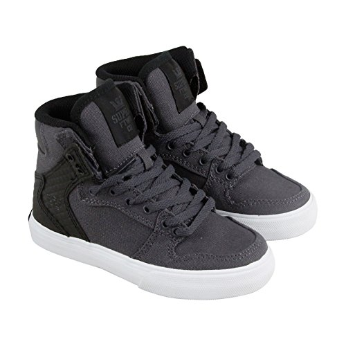 Supra Boys Vaider Shoes Size 3 Magnet/Black - White (Supra High Tops Kids)