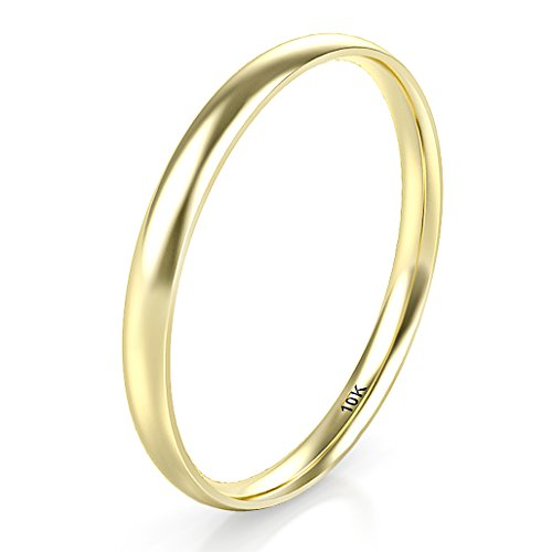 Sz 7.5 Solid 10K Yellow Gold 2MM Plain Dome Wedding Band Ring
