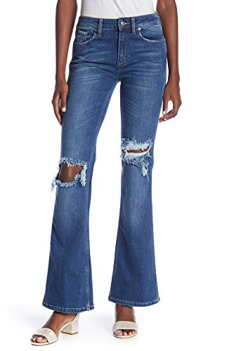 Free People Womens Classic Rise Medium Wash Flare Jeans Blue 28