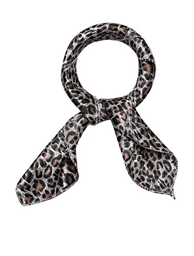 - uxcell Women's Stain Print Square Scarves Kerchief Neck Scarf Brown Leopard