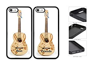 Best Friends Guitar And Musical Notes Set pc Silicone pc Cell Phone Case Apple iPhone 5 5s