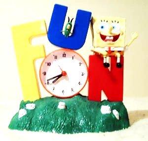 Rare Spongebob Squarepants Alarm Clock 2002 Edition Grass Base FUN SONG EditionBob Sitting on the Letter N