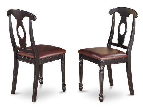 East West Furniture KEC-BLK-LC Dining Room Chair Set with Faux Leather Upholstered Seat, Set of 2 (Chairs Napoleon Dining Style)
