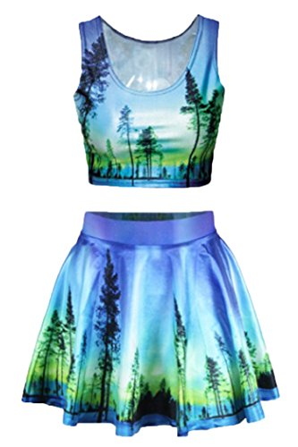 Pink Queen Womens Blue 3D Trees Forest Print Two Piece Tank Top Tees Shirts Skater Skirt -