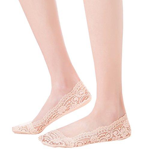 Con footsies Imbottito genuini antiscivolo fodera Nude JHosiery Paia 3 scarpe Donna invisibile Sottopiede Zqw5xvf