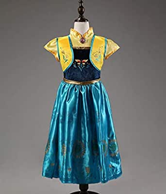 Xcr-f-2a 4-8 سنوات فستان ديزني فروزن فاخر للبنات إلسا وآنا فستان تأثيري