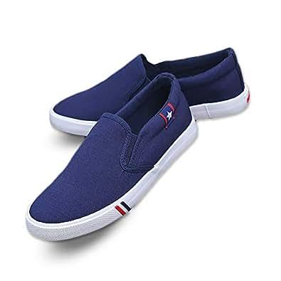 Kakkkchi A002M Unisex Canvas Slip on Fashion Loafers Mens Casual Walking Shoes Blue Size: 11
