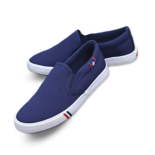 Kakkkchi A002M Unisex Canvas Slip on Fashion Loafers Mens Casual Walking Shoes (11, A002M Navy Blue)
