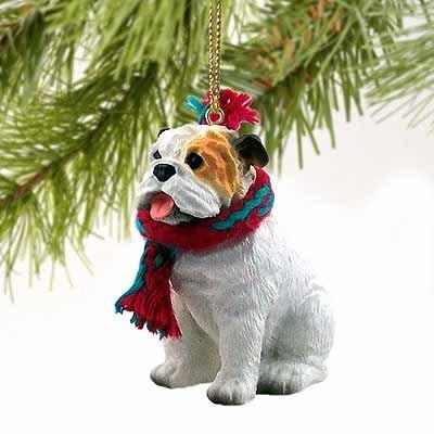 g Ornament - White (Bulldog Christmas Ornament)