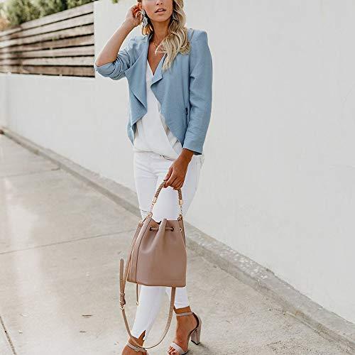 ... à Blazer Revers Hiver 2018 Manteau Automne Solide Zip Veste Bleu Femmes  Casual Manches Manteau Petit ... 605c16d251b1