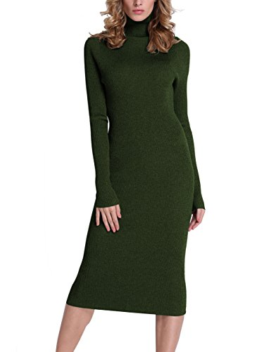 Rocorose Women's Turtleneck Ribbed Elbow Long Sleeve Knit Sweater Dress Army Green L (Turtleneck Womens Dress Sweater)
