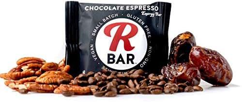 RBar Whole Food Chocolate Espresso Rich Energy Bar - Dairy & Gluten Free Snacks, Vegan Protein Bar Chewy- 4 Healthy Ingredients (10 Pack)