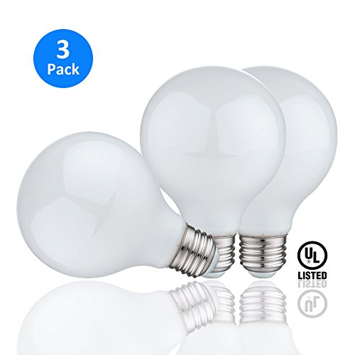 Ab Bathroom Lights (AmeriLuck G25 Decorative Globe Vanity LED Light Bulbs, Omnidirectional Frosted Glass, 60W Equivalent, 500Lumens/6.5W only, Non-Dimmable, Cozy Warm White 3000K, Perfect for Bathroom/Makeup (3 Pack))