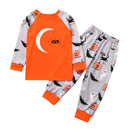 2Pcs Toddler Baby Boys Girls Raglan Long Sleeve T Shirt + Pumpkin Print Pants Halloween Outfits Set Orange